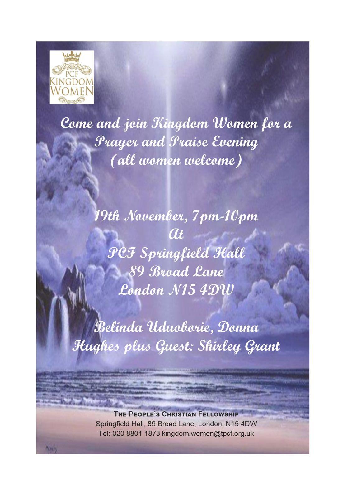Kingdom Women Presents Prayer Amp Praise Evening Welcome